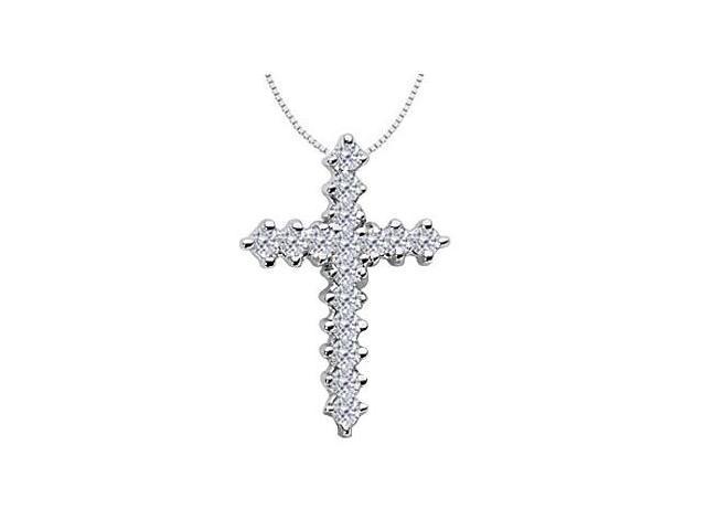 Religious Diamond Cross Necklace in White Gold 14K of 0.60 Diamonds