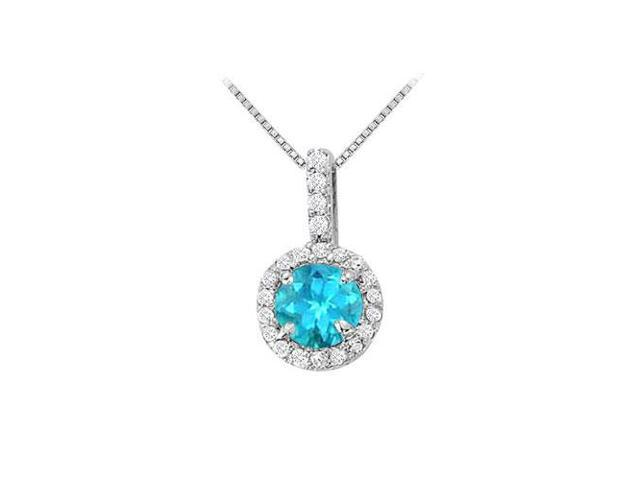 Fancy Round Blue Topaz and Cubic Zirconia Halo Pendant in Sterling Silver