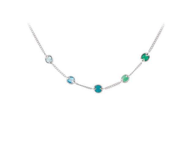 Multi Gemstone Station Necklace in .925 Sterling Silver 16 Inch with 2 Inch Extensions