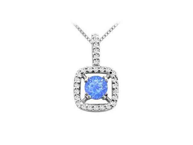 2 Carat Diffuse Sapphire Pendant with Cubic Zirconia in 925 Sterling Silver 2.50 CT TGW