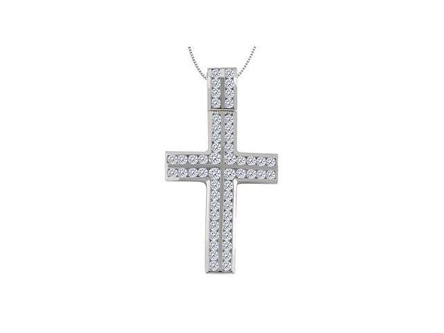14K White Gold Cross of Religious Necklace with Channel Set Diamond of 1.40 Carat Diamonds