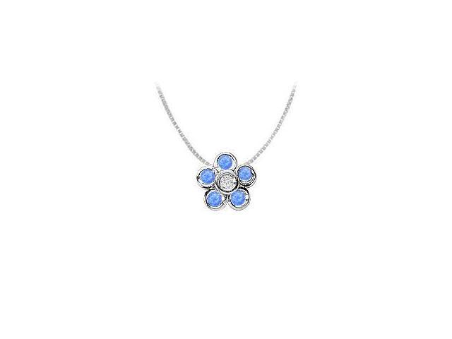 Half Carat Diffuse Sapphire and Cubic Zirconia Bezel Set Flower Pendant in 925 Sterling Silver