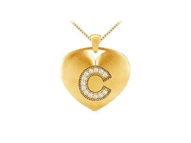 14K Yellow Gold Heart Diamond Initial C Pendant with 0.13 Carat TDW