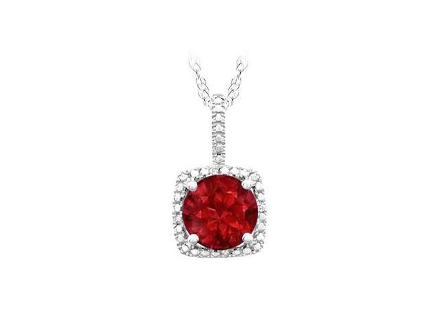 July Birthstone Created Ruby Pendant with Diamonds in 925 Sterling Silver 1.50 CT TGW