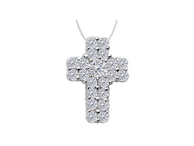 CZ Religious Cross Pendant Necklace in 14K White Gold 3.60 Carat Total Gem Weight