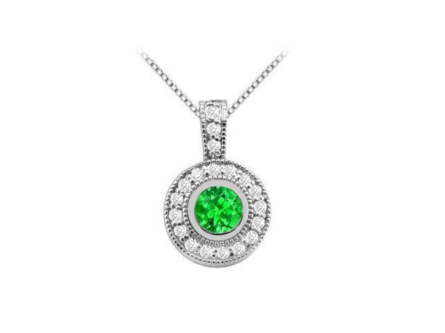 Frosted Emerald and Cubic Zirconia Pendant in 14K White Gold Two Carat Total Gem Weight