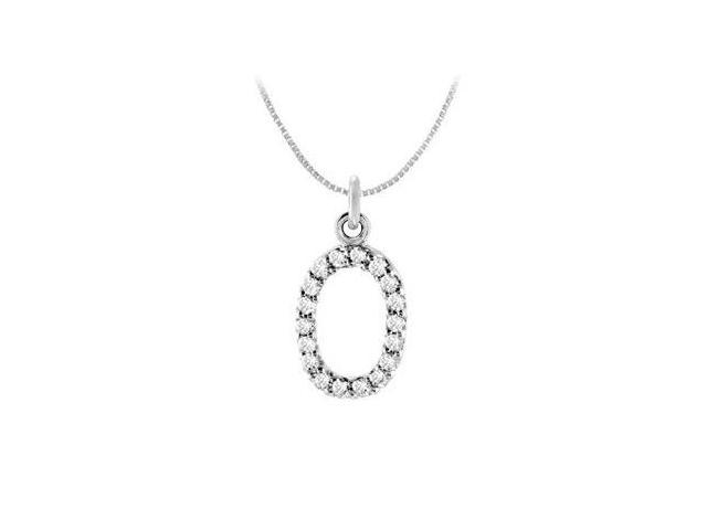 Cubic Zirconia Numeric 0 Charm Pendant  .925 Sterling Silver - 0.08 CT TGW