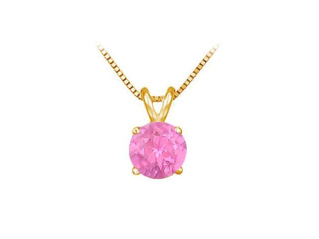 14K Yellow Gold Prong Set Natural Pink Sapphire Solitaire Pendant 1.00 CT TGW