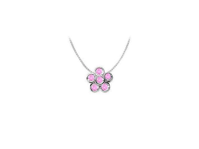 Round Pink Sapphire Flower Pendant in Rhodium Treated .925 Sterling Silver 0.50 Carat TGW