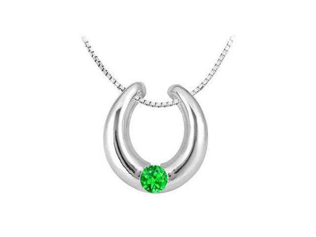 14K White Gold Horseshoe Pendant with Frosted Emerald Half Carat Total Gem Weight
