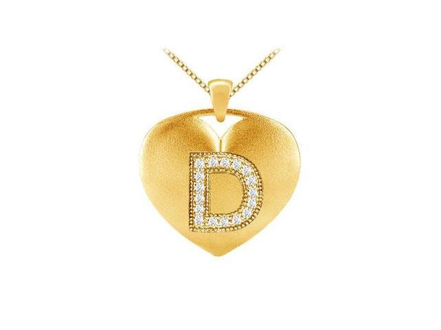 Brilliant Cut Diamond Heart Initial D Pendant in 14K Yellow Gold 0.17 ct TDW