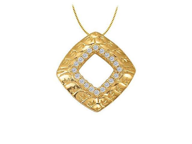 Cubic Zirconia Square Shaped Pendant in Gold Vermeil over Sterling Silver 0.10 CT TGW