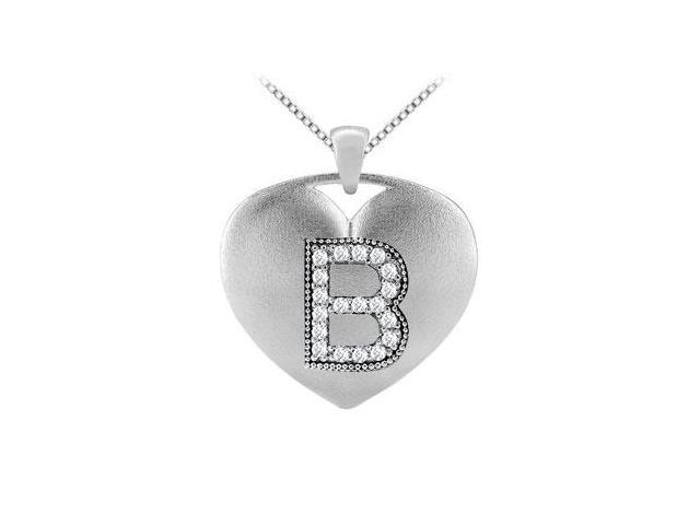 Diamond Initial B Heart Pendant with 0.19 Carat Diamonds in White Gold 14K