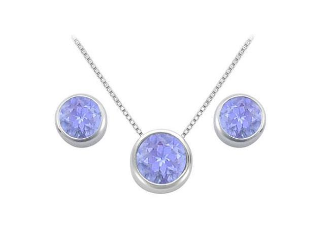 Created Tanzanite Solitaire Stud Earrings and Pendant in 14kt White Gold 3.00.ct.tgw