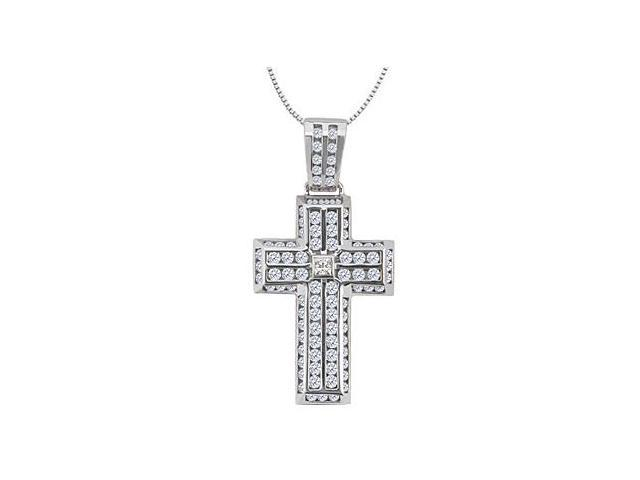 14K White Gold Cross Pendant with Diamond Channel Set of 2.25 Carat Diamonds