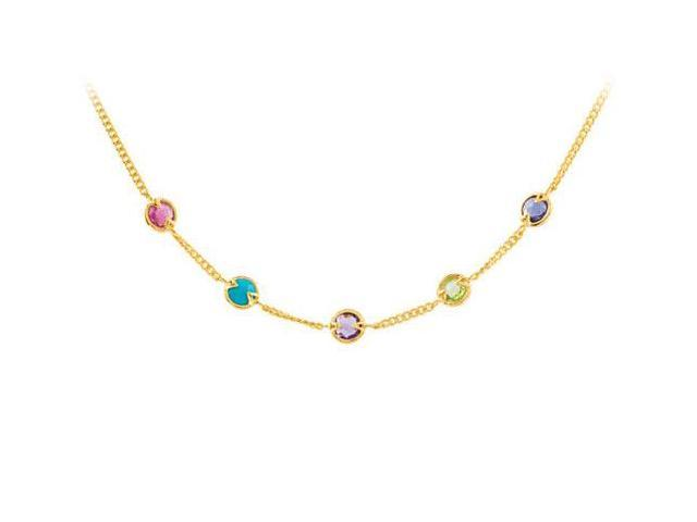 18K Yellow Gold Vermeil Multi Color Gemstone Necklace 16 Inch with 2 Inch Extensions