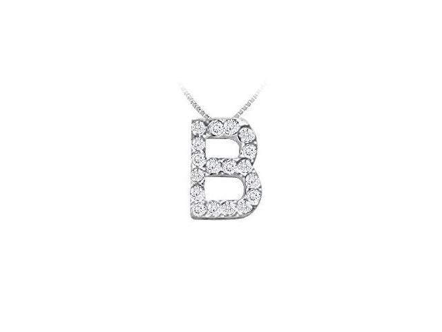 Classic B Initial Diamond Pendant  14K White Gold - 0.20 CT Diamonds