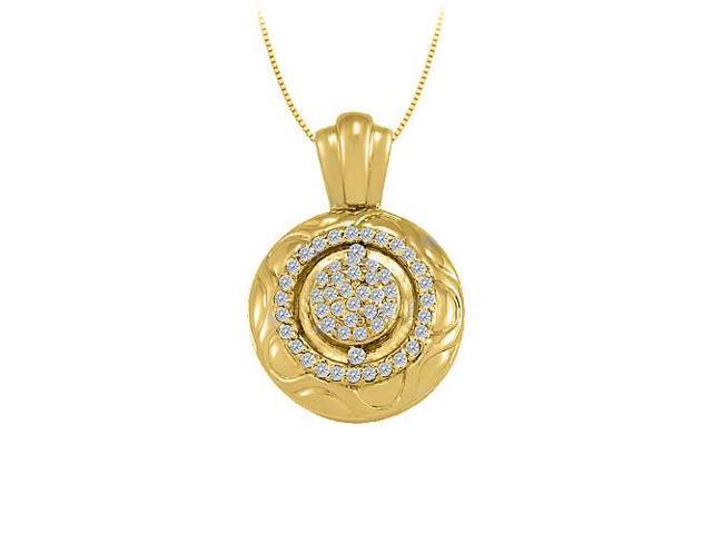 Diamond Fancy Circle Fashion Pendant in 14K Yellow Gold 0.10 CT TDWJewelry Gift for Women