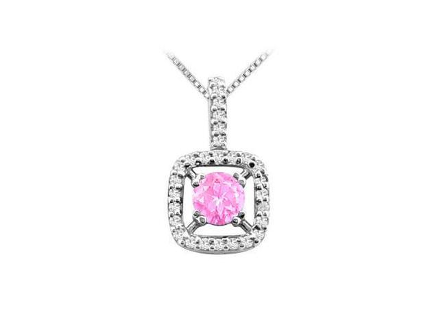 Pink Sapphire and Cubic Zirconia Pendant with 2.50 Carat TGW in Rhodium Treated .925 Sterling Si