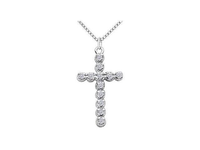 Diamond Religious Cross Pendant in White Gold 14K of 0.33 Carat Diamonds