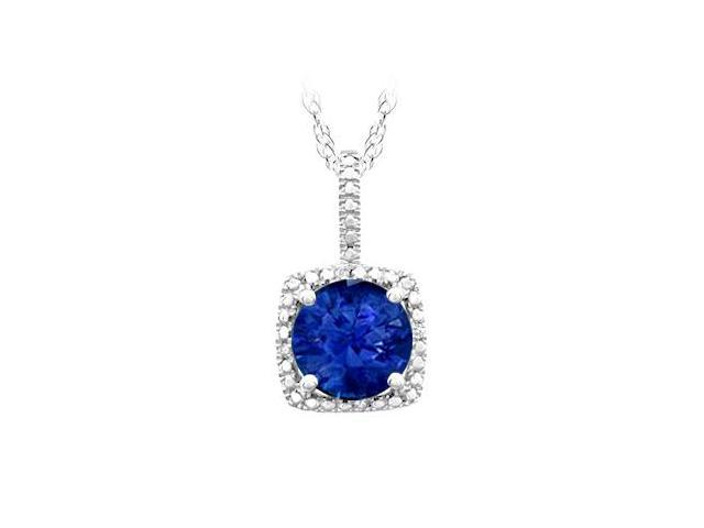 September Birthstone Created Sapphire and Diamond Pendant in 925 Sterling Silver 1.50 CT TGW