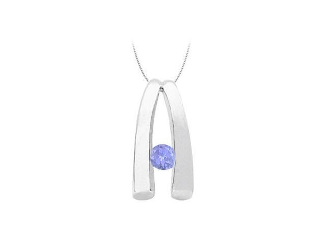 December Birthstone Tanzanite Pendant in 14kt White Gold 0.15 CT TGW.