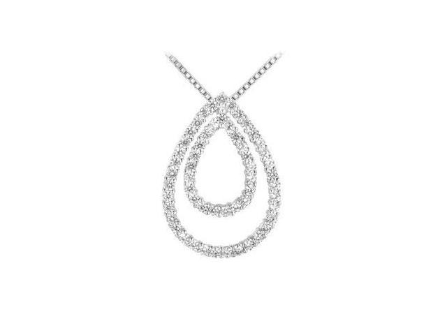 Pear Shape Diamond Pendant  14K White Gold - 1.75 CT Diamonds
