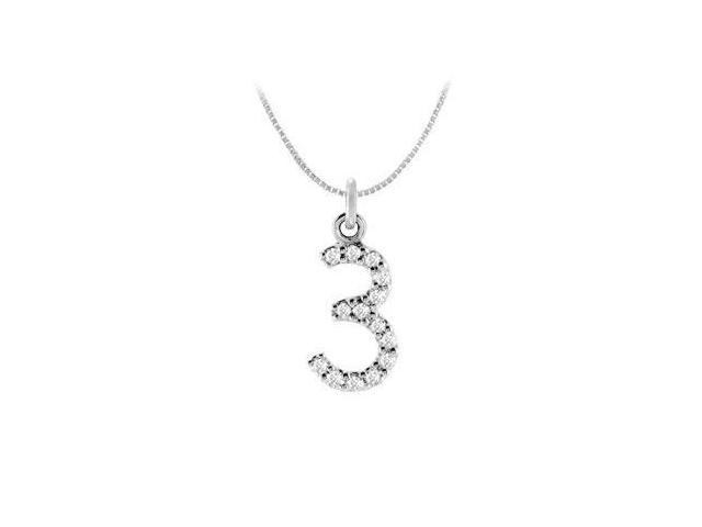 Cubic Zirconia Numeric 3 Charm Pendant  .925 Sterling Silver - 0.06 CT TGW