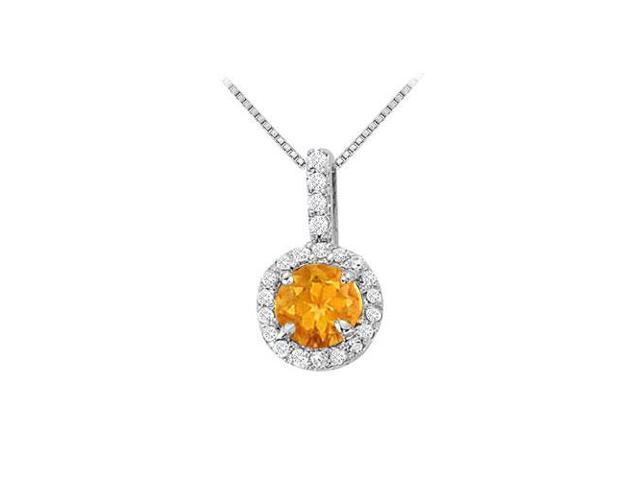 Fancy Round Citrine and Cubic Zirconia Halo Pendant in Sterling Silver 1.25 CT TGW