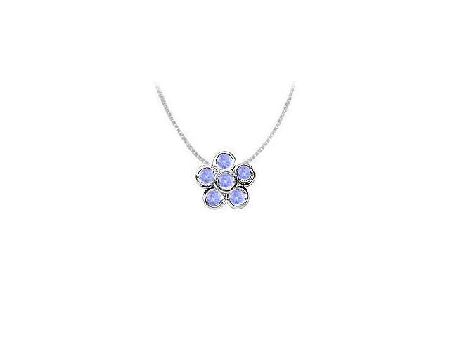 Bezel Set Flower Tanzanite Pendant with 0.50 Carat TGW in Rhodium Treated .925 Sterling Silver