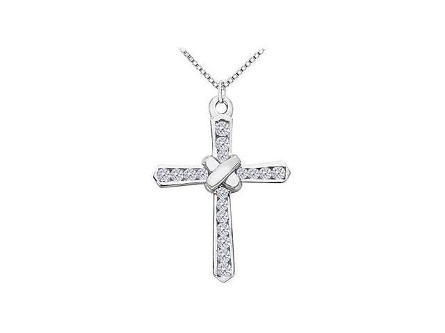 Polished 14K White Gold Cross Wrap Design Pendant Necklace with Diamonds of 0.50 Carat