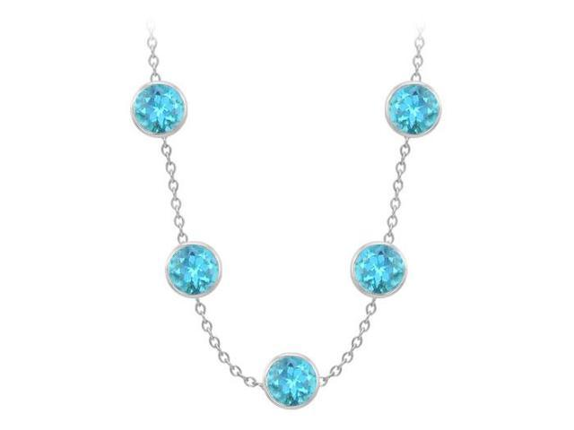 Blue Topaz By the Yard Necklace 75 Carat TGW in 14K White Gold Complete Yard Length