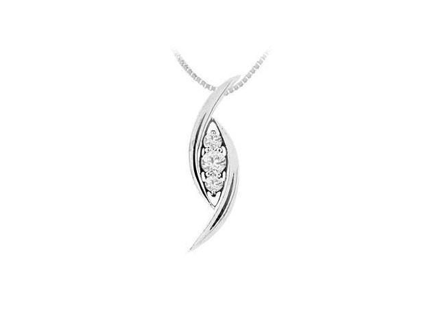 Round Cubic Zirconia Pendant in Rhodium Treated .925 Sterling Silver 0.25 Carat TGW