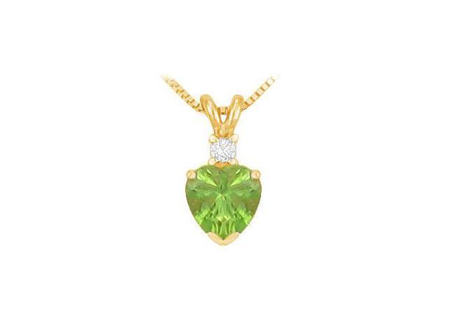 Diamond and Peridot Solitaire Pendant  14K Yellow Gold - 1.00 CT TGW