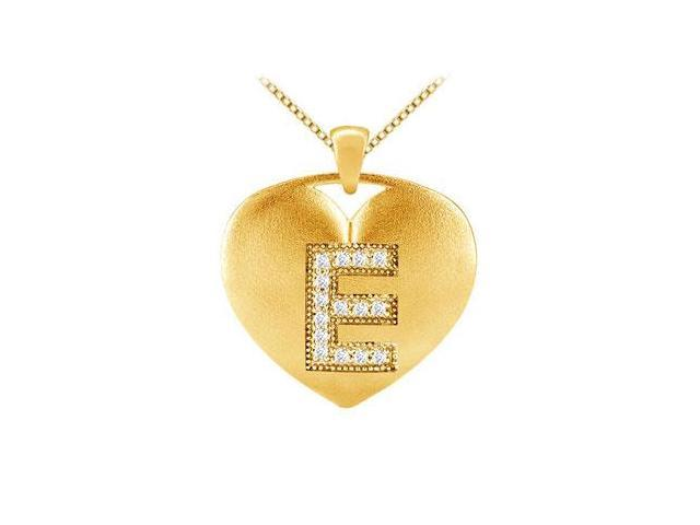 Initial E Diamond Heart Pendant in Yellow Gold 14K with 0.15 Carat TDW