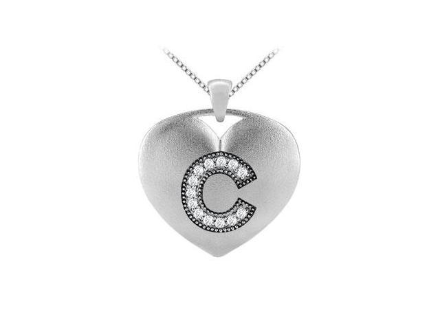 14K White Gold Heart Diamond Initial C Pendant with 0.13 Carat TDW