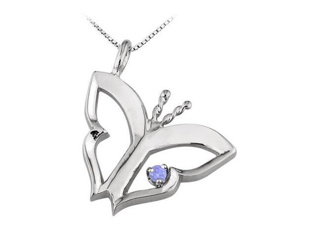 Butterfly Pendant Necklace  with Tanzanite in 14kt White Gold   0.15 CT TGW