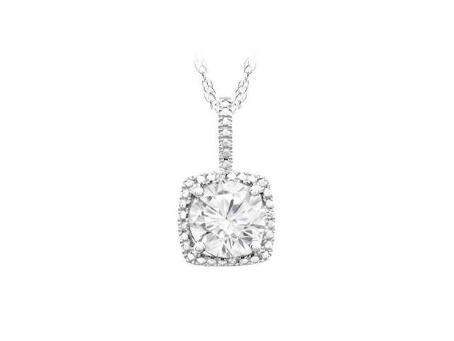 September Birthstone Created White Sapphire and Diamond Pendant in Sterling Silver 1.50 CT TGW.