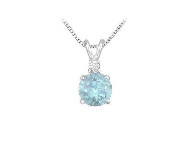 Diamond and Aquamarine Solitaire Pendant  14K White Gold - 1.00 CT TGW