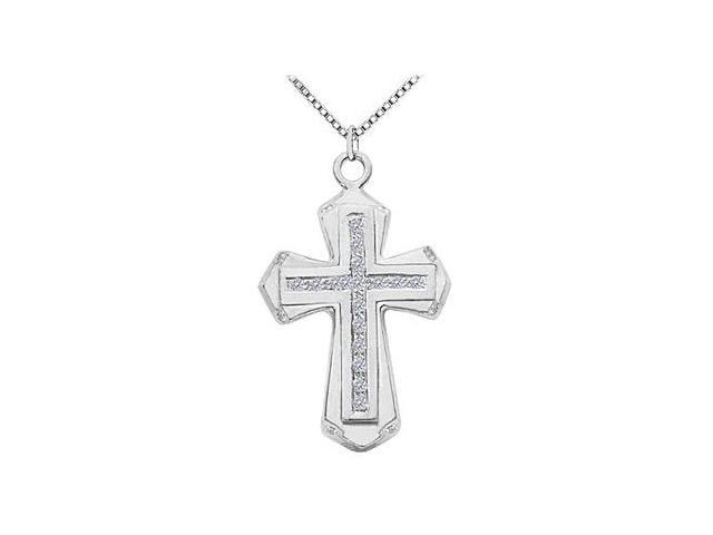 Diamond Cross Necklace in 14K White Gold Channel Set of 0.25 Carat Diamonds