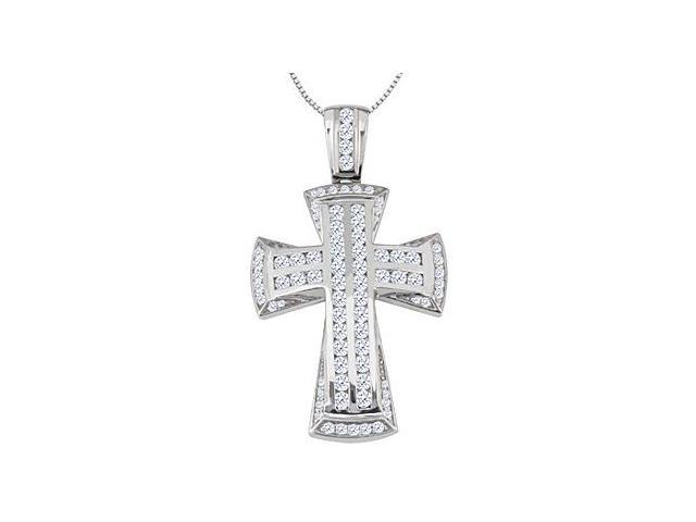 Religious Necklace of Cross in 14K White Gold 1.15 Carat Diamond Channel Setting