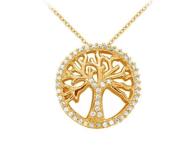 Cubic Zirconia Fancy Circle Fashion Pendant in Gold Vermeil over Sterling Silver 0.25 CT TGW