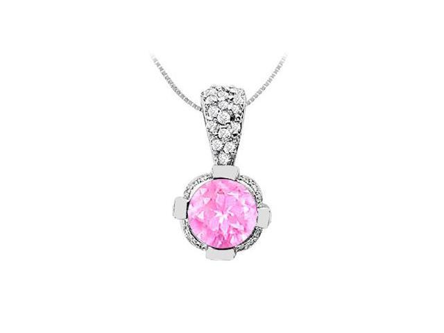 14K White Gold Created Pink Sapphire Pendant with Cubic Zirconia 2.20 Carat TGW