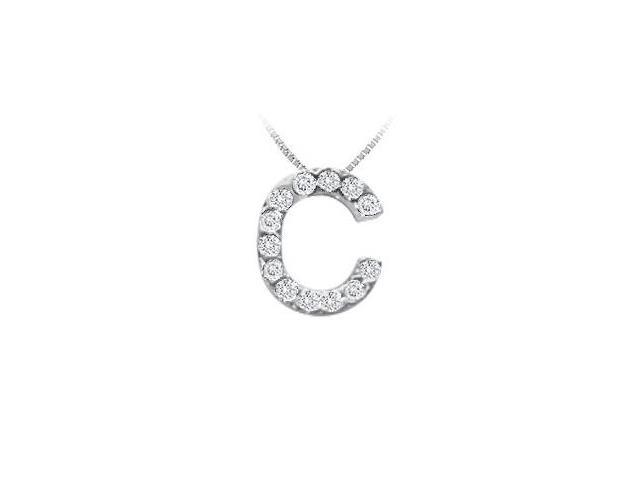 CZ Initial Sterling Silver C Pendant