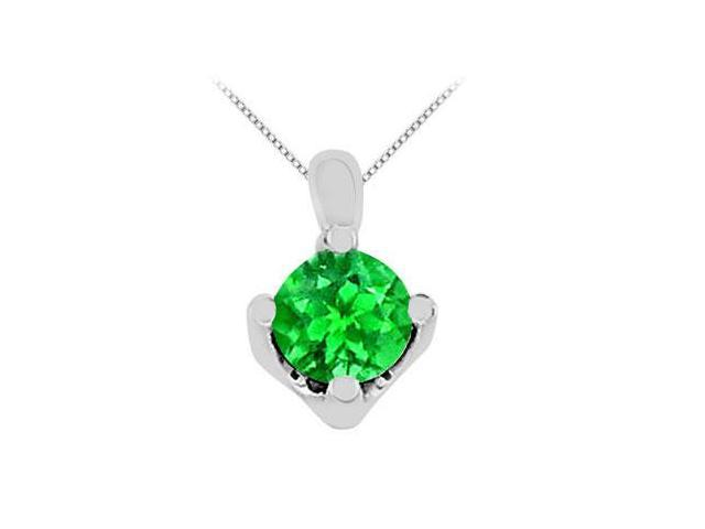 Frosted Emerald Solitaire Pendant with 1 carat Total Gem Weight in 14K White Gold