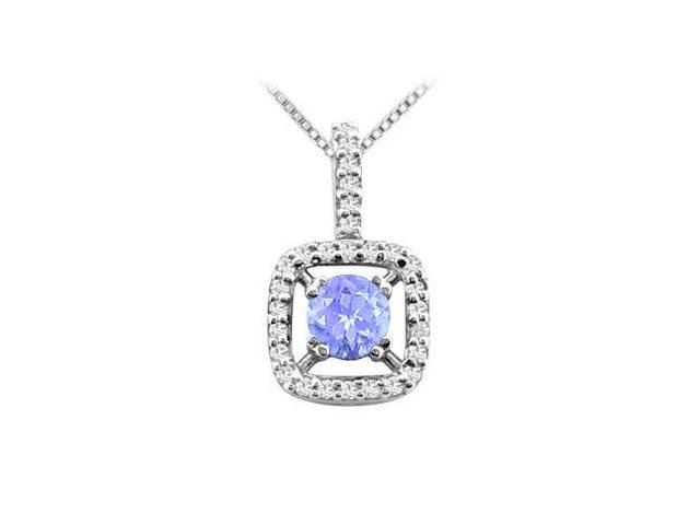 .925 Sterling Silver with Tanzanite and CZ Pendant in Rhodium Treated .925 Sterling Silver 2.50