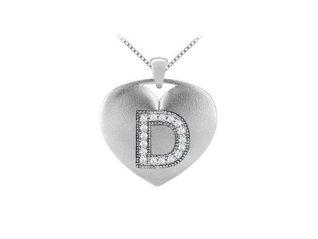 Brilliant Cut Diamond Heart Initial D Pendant in 14K White Gold 0.17 ct TDW
