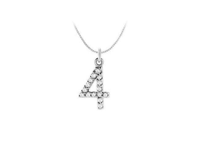 Cubic Zirconia Numeric 4 Charm Pendant  .925 Sterling Silver - 0.07 CT TGW