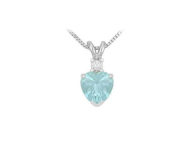 Diamond and Aquamarine Solitaire Pendant  14K White Gold - 1.00 CT TGW
