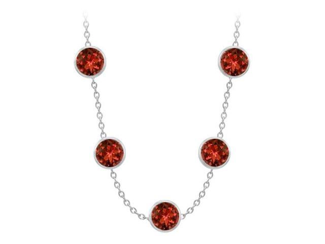Garnet By The Yard Necklace 75 Carat in White Gold 14K with 36 Inch Cable Chain